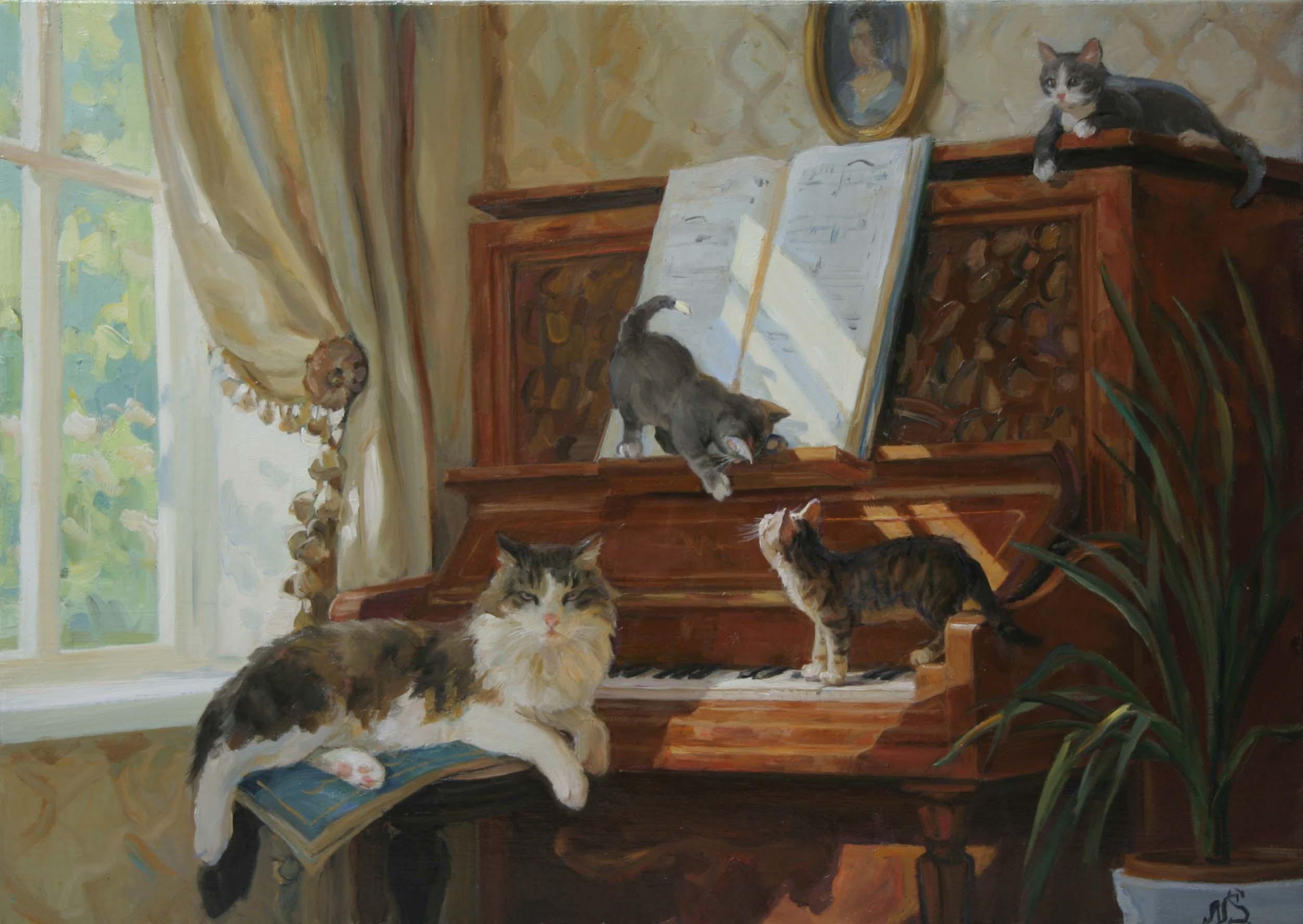 """""""Коты и пианино"""". 2012; х., м.; 60х80"""