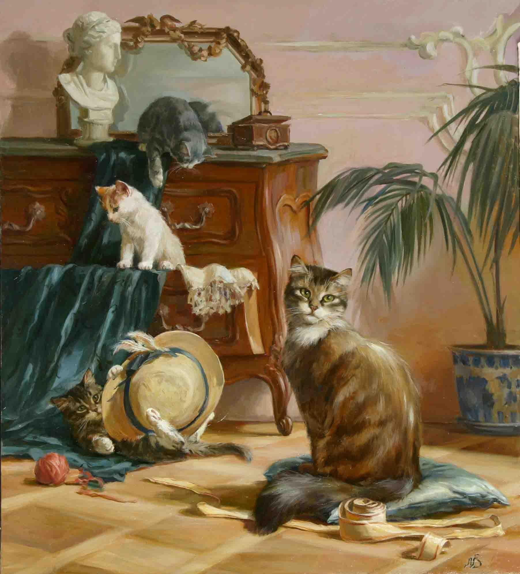 """Коты и шляпа."" 2006; х., м.; 60х50"