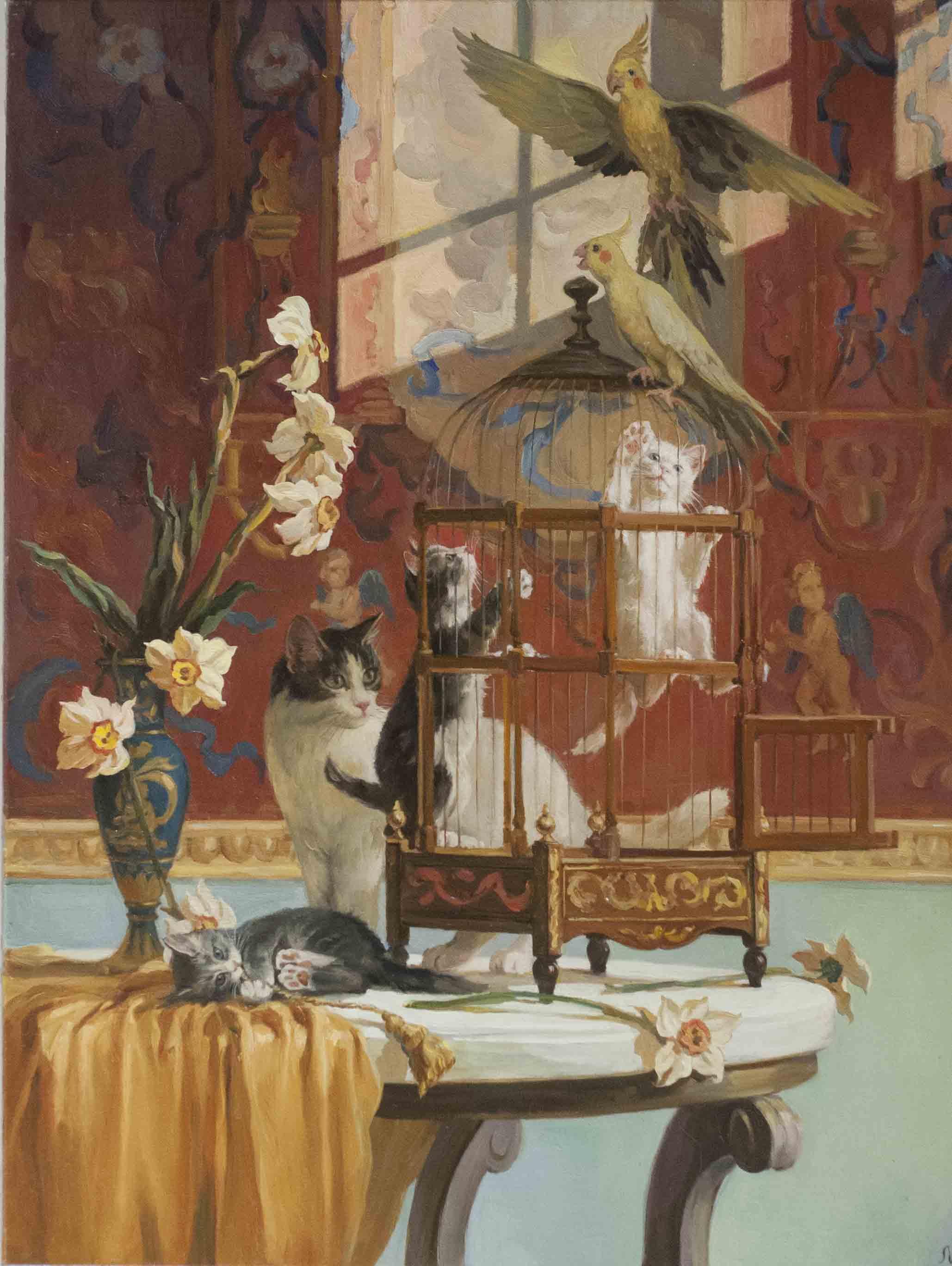 """Коты и гобелен"". 2007; х., м.; 80х60"