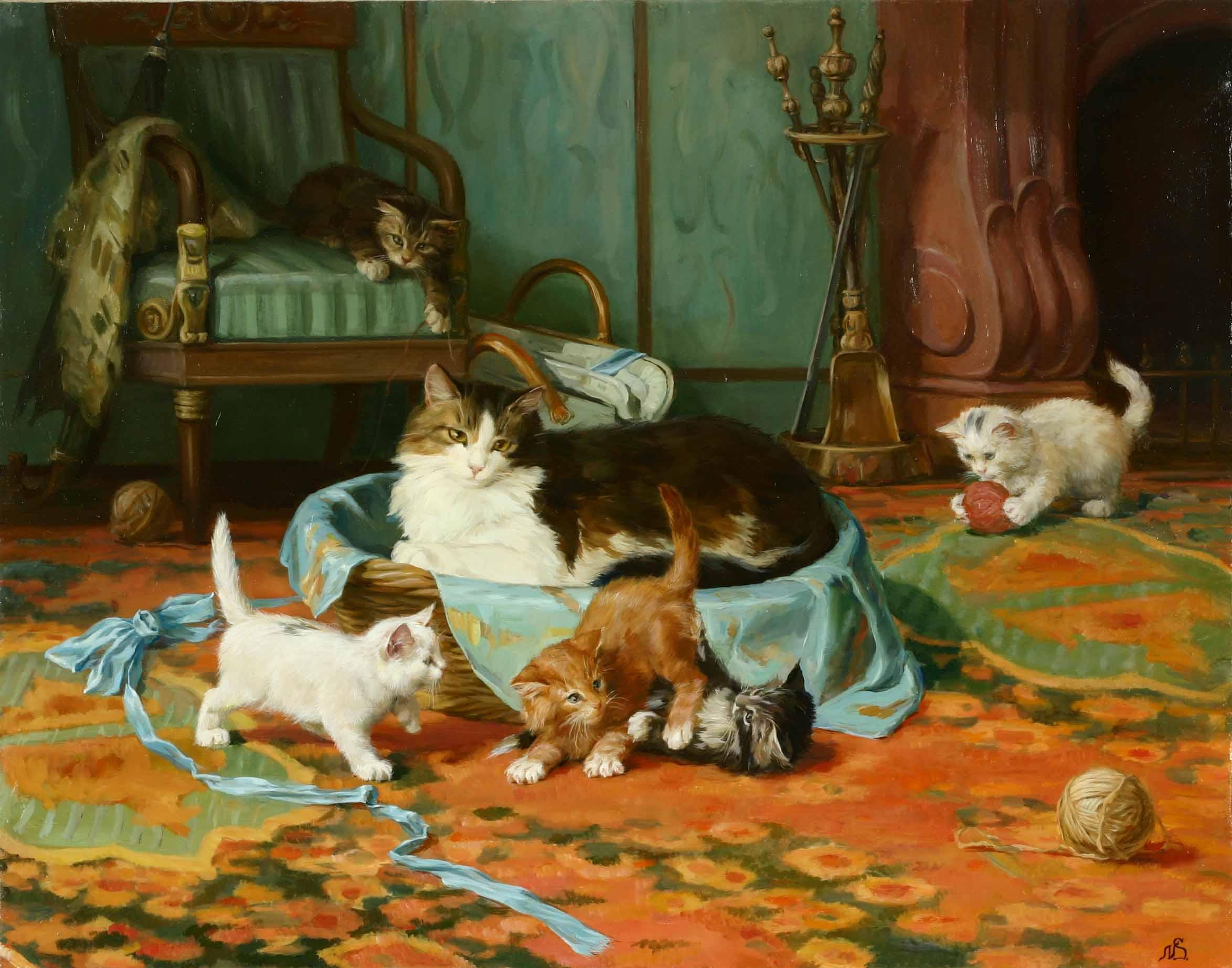 """""""Коты и камин."""" 2007; х.,м.; 60х90"""