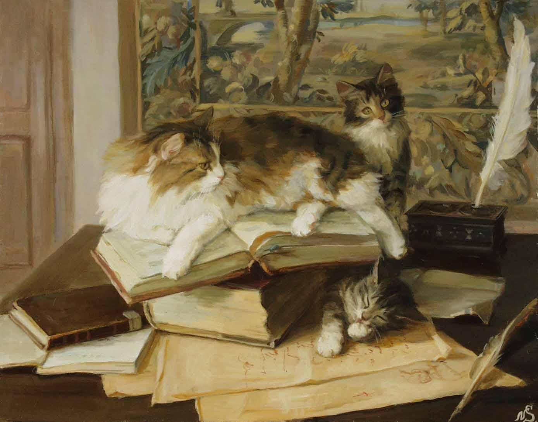 """""""Коты и книги."""" 2005; х.,м.; 50х60"""